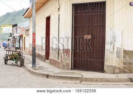 Jinotega Nicaragua - June 11 2015: Simple colonial architecture in the town of Jinotega Northern highlands of Nicaragua