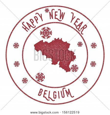 Retro Happy New Year Belgium Stamp. Stylised Rubber Stamp With County Map And Happy New Year Text, V