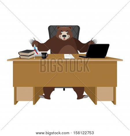 Russian Boss. Bear Sitting In An Office. Businessman From Russia At Desk. National Folk Chief. Beast
