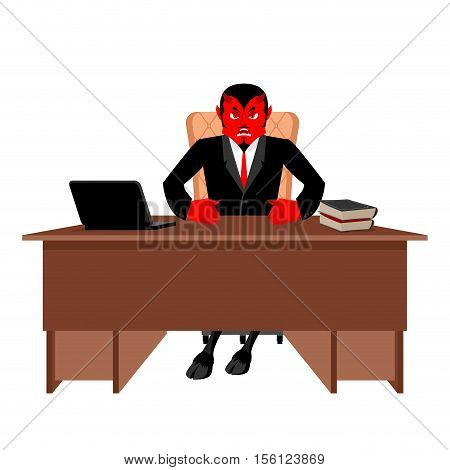 Diablo Boss Sitting In Office. Devil Of Workplace. Red Demon At Work. Leader At Job Table. Laptop An