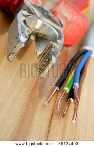 Electric installation, close up of electrical wires