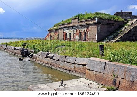 Kronstadt Russia - 10 July 2016: Fort Graf Milutin is marine fortification construction for protection of Saint Petersburg from attack by naval forces. Built in 1855-1856 years