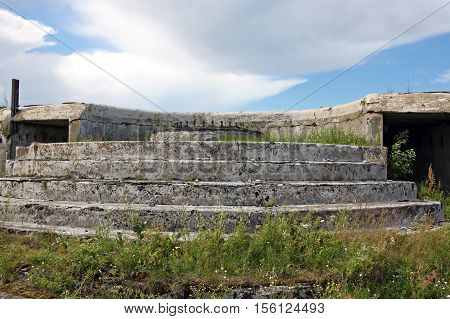 Kronstadt Russia - 10 July 2016: Canet gun's emplacement in Fort Graf Milutin. Fort is marine fortification construction for protection of Saint Petersburg from attack by naval forces was built in 1855-1856 years