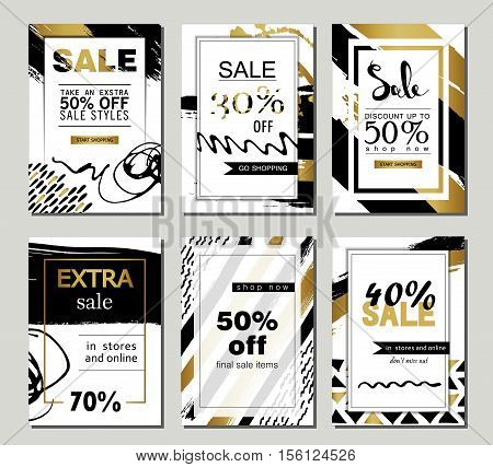 Set of social media sale website and mobile banner templates with golden texture. Vector banners posters flyers email newsletter ads promotional material. Typography discount card design poster