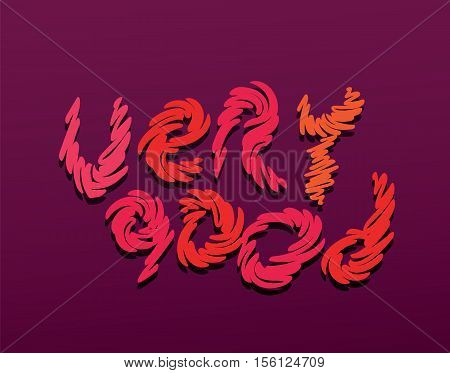 very good text hand drawn letters red color vector illustration