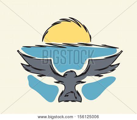 bird flying to horizon with sunrise vector illustration
