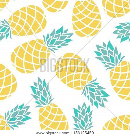 Cartoon pineapple on a white background. Simple vector background Cute summer pattern Seamless textile illustration in vintage style. design for greeting card and invitation of seasonal summer holiday