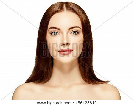 Glamour Portrait Of Beautiful Woman. Skin Concept. Studio Shot.