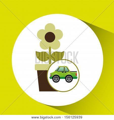 green ecology car flower concept vector illustration eps 10