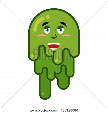 Joyful Booger. Smile Emotion Snot. Big Green Wad Of Mucus Snivel