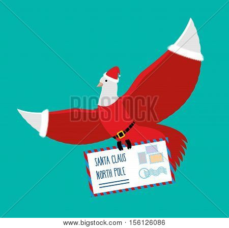 Christmas Dove Carries Letter To Santa Claus. Postal Pigeons In Santas Cap And Red Suit. Mail With C