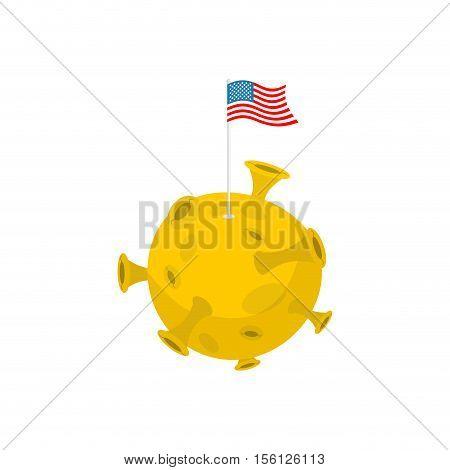 America Flag On Moon. Usa Banner On Yellow Planet. Astronomy Illustration