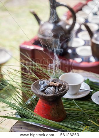 Incense burnt during the traditional Ethiopian coffee ceremony.