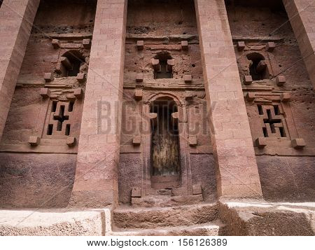 One of the entrances of Bet Medhane Alem (House of the Saviour of the World) the largest rock-hewn church on Earth. Lalibela Ethiopia.
