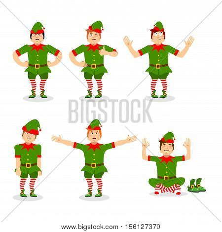 Christmas Elf Set Of Poses. Various Movements Assistant Of Santa Claus. Surprised And Sleep Little M