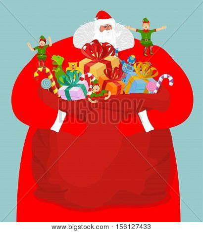 Santa With Big Bag Of Gifts. Red Sack With Toys And Sweets. Christmas Elf Helpers. Character For New