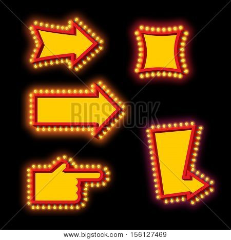 Glowing Arrow With Blub Set. Luminous Pointer. Retro Cursor With Light Lamps. Vintage Direction Mark