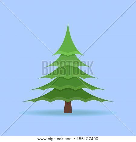 Christmas spruce tree isolated on blue background. Flat style vector illustration.