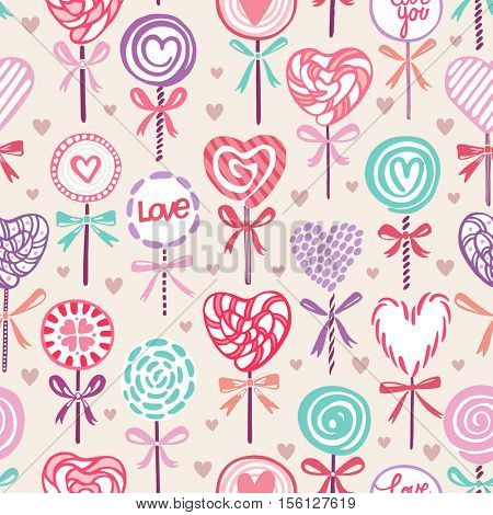 Seamless vector background with colorful heart shaped lollipops