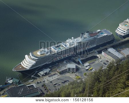 Aerial view of cruise ships docked at the port of Juneau in Alaska USA