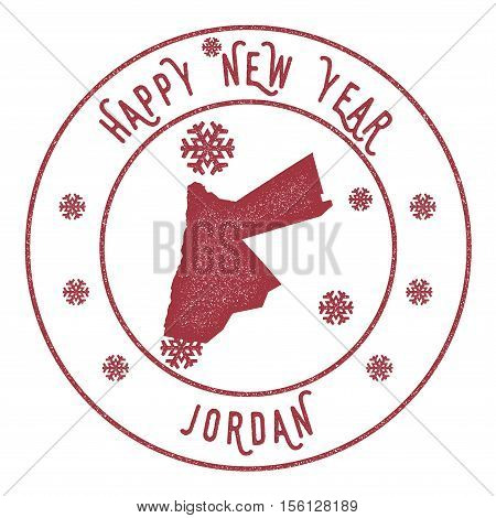 Retro Happy New Year Jordan Stamp. Stylised Rubber Stamp With County Map And Happy New Year Text, Ve