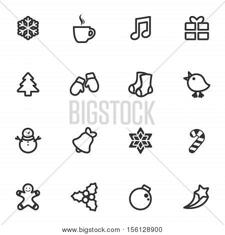 Winter and Christmas vector icon set. Contour style winter and Christmas collection