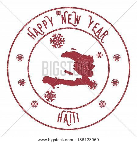 Retro Happy New Year Haiti Stamp. Stylised Rubber Stamp With County Map And Happy New Year Text, Vec