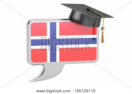 Speech bubble with Norwegian flag learning concept. 3D rendering
