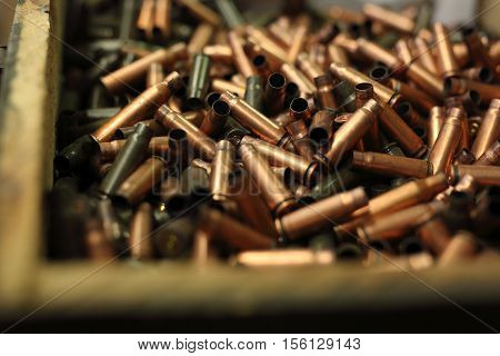 The scales on the cartridges. Ammunition, brass scales on the cartridges