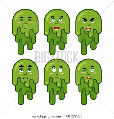 Booger Emotions Set. Cheerful And Sad Snot. Evil And Good Of Snivel. Green Slime Lump