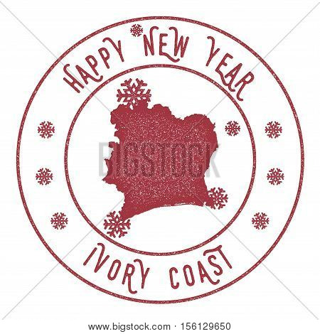 Retro Happy New Year Cote D'ivoire Stamp. Stylised Rubber Stamp With County Map And Happy New Year T