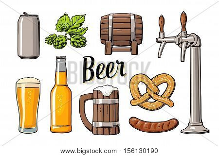 Beer set with tap class can bottle barrel sausage pretzel and hop. Vintage vector flat illustration for web poster. Isolated on white background.