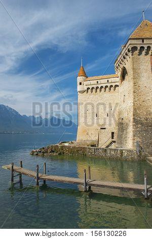 MONTREUX, SWITZERLAND - September 02: Castle Chillon (Chateau de Chillon) at Lake Geneva in Montreux, Switzerland on September 02, 2016