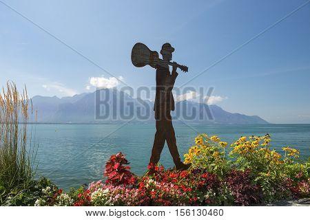 MONTREUX, SWITZERLAND - September 02: modern sculpture on the shores of Lake Geneva in Montreux, Switzerland on September 02, 2016
