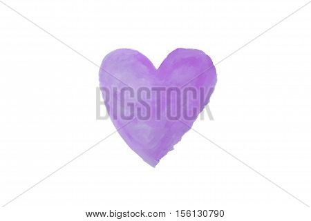 purple heart watercolor paint isolated on white background background