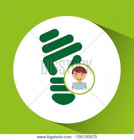 happy boy environment bulb sign vector illustration eps 10