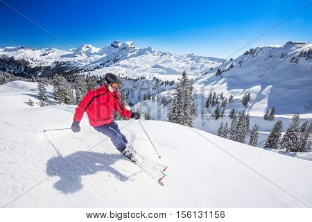 Swiss Alps covered by fresh new snow seen from Hoch-Ybrig ski resort Central Switzerland