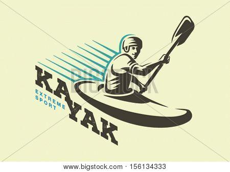 Kayaking. Sport logo emblem