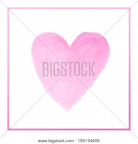 gradient pink heart watercolor paint isolated on white background background with border