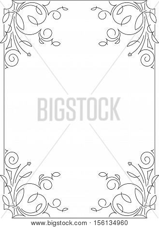 Classical Decorative Simple Calligraphic Frame In Mono Line Style