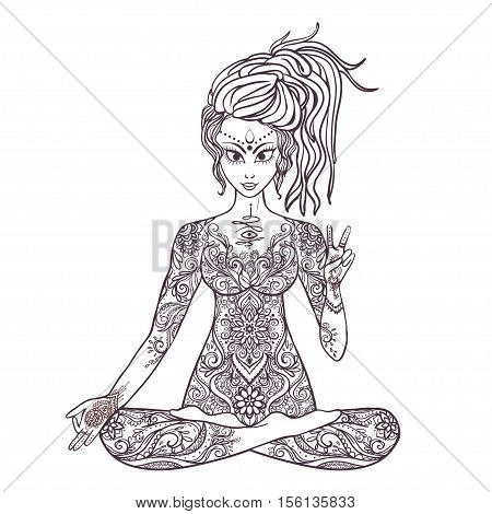Girl meditates in the lotus position. Geometric element hand drawn rnament stylization. Hippie culture. Dreadlocks. Promotion of peace and love