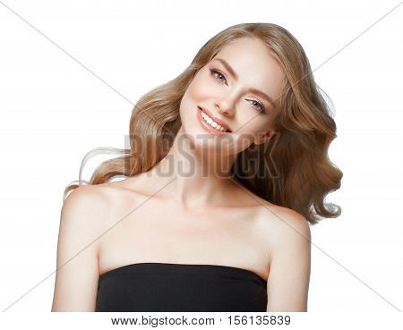 Woman Beauty. Blond Woman With Healthy Skin. Isolated On White. Studio Shot.