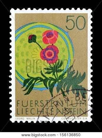 LIECHTENSTEIN - CIRCA 1970 : Cancelled postage stamp printed by Liechtenstein, that shows Glacier crowfoot.