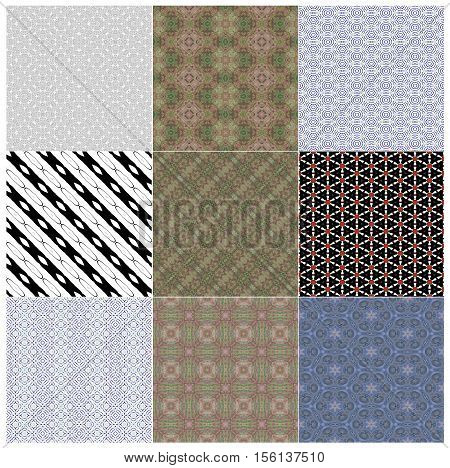 seamless background of different colors and geometrical shapes