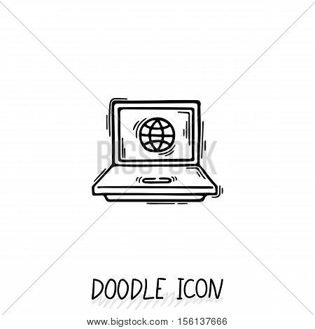 Doodle Laptop Icon illustration. Compact PC, netbook, ultrabook. poster