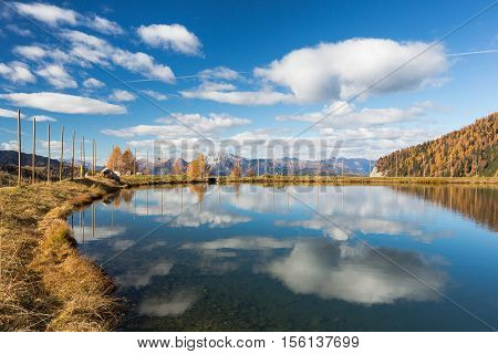 Panoramic View of a lake in the Austrian mountains of Nassfeld Hermagor Carinthia