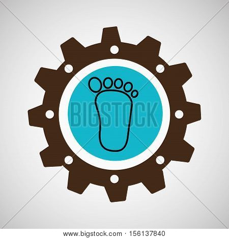 symbol environment gear footprint vector illustration eps 10