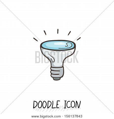 Doodle icon of light bulb. Electric lighting, energy saving.