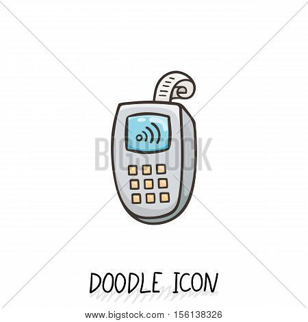 Doodle icon with credit card payment, vector pictogram with paypass.