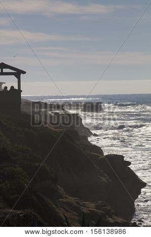 Sun shining and glittering on coastal water at La Jolla San Diego California